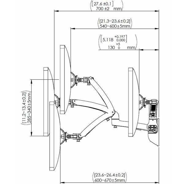 Technical drawing for Cotytech MW-GSDA Dual Apple Monitor Wall Mount Spring Arm