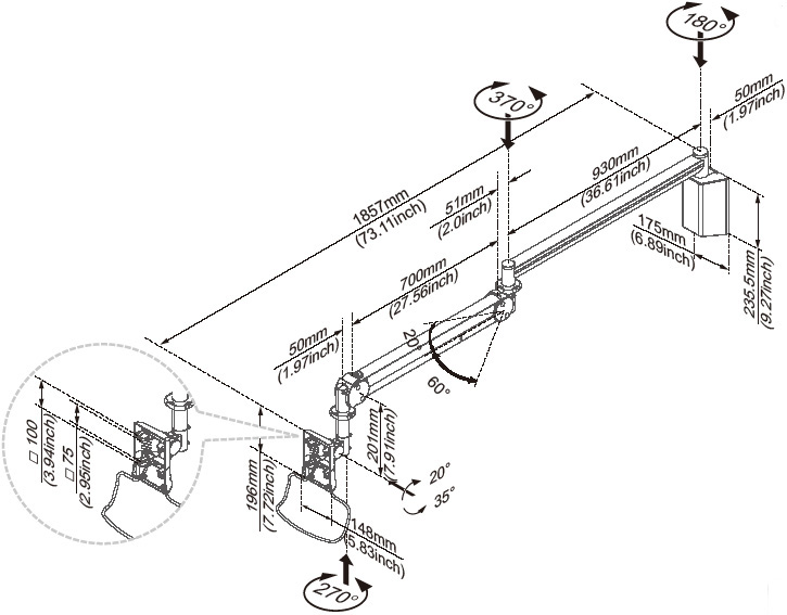 Technical Drawing for Cotytech MW M23P Long Reach LCD Monitor Arm Wall Mount