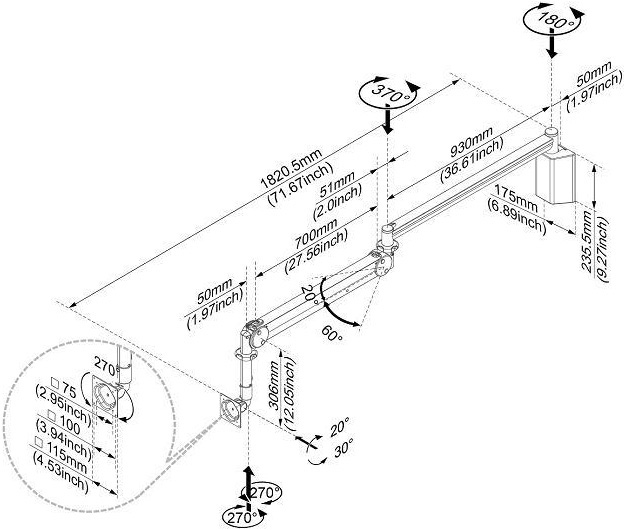 Technical Drawing for Cotytech MW M15P Long Reach LED Monitor Medical Arm