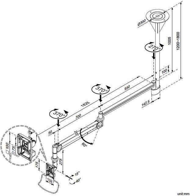 Technical drawing for Cotytech CM-M123N Long Reach Medical Arm Ceiling Mount