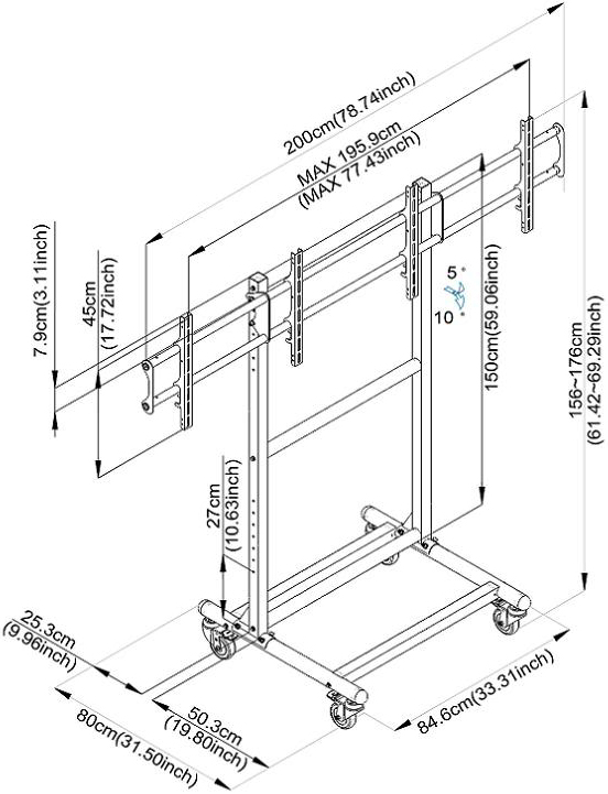 Technical drawing for Cotytech CT-OS37 Adjustable Ergonomic Mobile Dual TV Cart