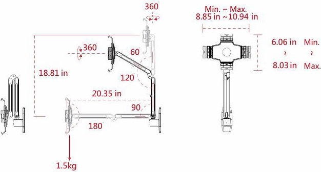 Technical drawing for Cotytech MW-2W iPad Wall Mount Dual Arm