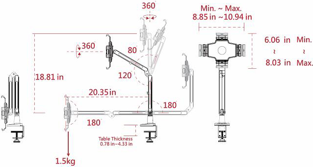 Technical drawing for Cotytech DM-2W iPad Desk Mount Dual Arm