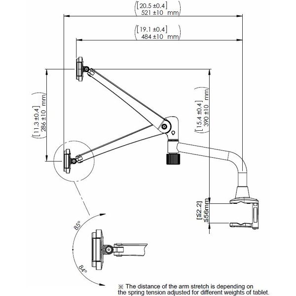 Technical drawing for Cotytech DTM-4 Articulating Desk and Tube Mount, iPad and Tablet