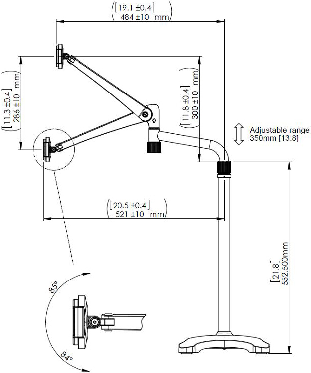 Technical drawing for Cotytech FLS-4 Articulating Floor Stand for iPad mini & iPad Air