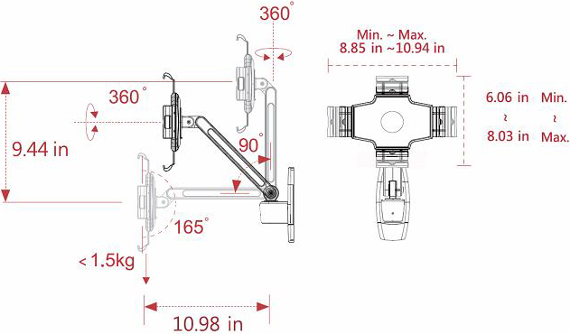 Technical drawing for Cotytech MW-1W iPad Wall Mount Single Arm