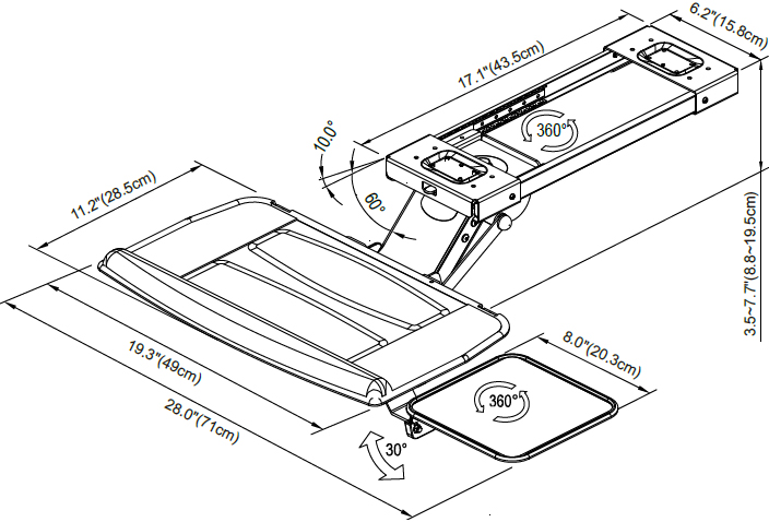 Technical drawing for Cotytech KGM-5A-BB Fully Adjustable Keyboard Tray Ball Bearing