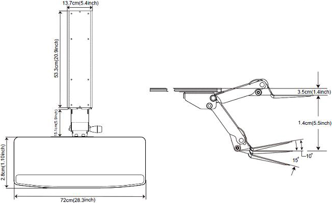 Technical drawing for Cotytech KS-833 Height Adjustable Keyboard Tray