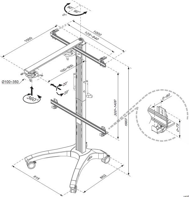 Technical Drawing for Cotytech CT-MP11 Mobile Projector Cart