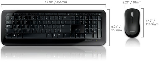 Technical Drawing of Microsoft 2LF-00001 Wireless Desktop 800 Keyboard and Mouse