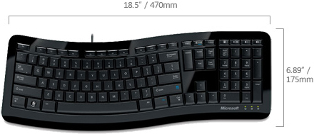 Technical Drawing of Microsoft 3TJ-00001 Comfort Curve Ergonomic 3000 Keyboard