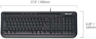 Technical Drawing of Microsoft ANB-00001 Wired 600 Keyboard