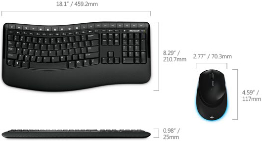 Technical Drawing of Microsoft CSD-00001 Wireless Comfort Desktop 5000 Keyboard and Mouse