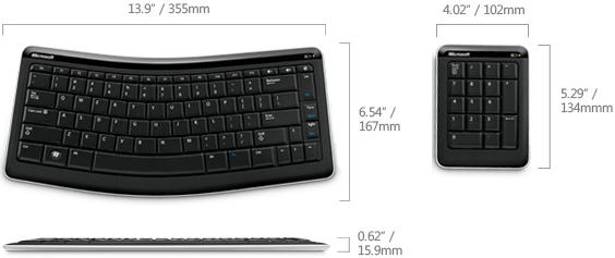 Technical Drawing of Microsoft CXD-00001 Bluetooth Wireless Mobile Keyboard 6000 and Number Pad