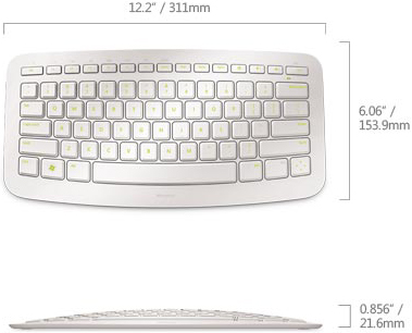 Technical Drawing of Microsoft J5D-00029 Arc Wireless Comfortable Portable Keyboard