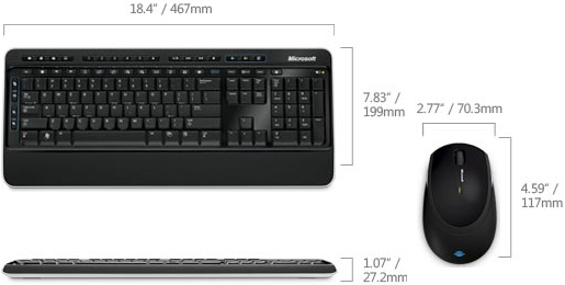 Technical Drawing of Microsoft MFC-00001 Wireless Desktop 3000 Keyboard and Mouse