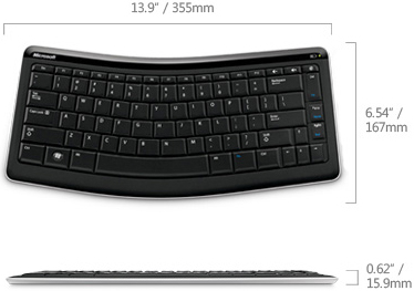 Technical Drawing of Microsoft T4L-00001 Bluetooth Mobile Keyboard 5000
