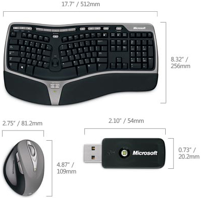 Drawing of Microsoft WTA-00001 Natural Ergonomic Desktop 7000 Keyboard and Mouse
