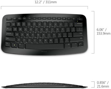 Technical Drawing for Microsoft J5D-00001 Portable Wireless Arc Keyboard