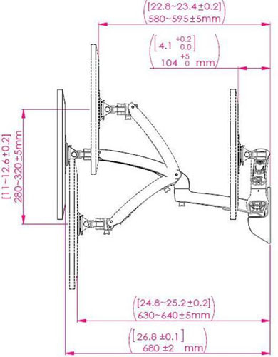 Technical Drawing of Ergotech FDM-PC-S01-WM Wall Mount Freedom Arm