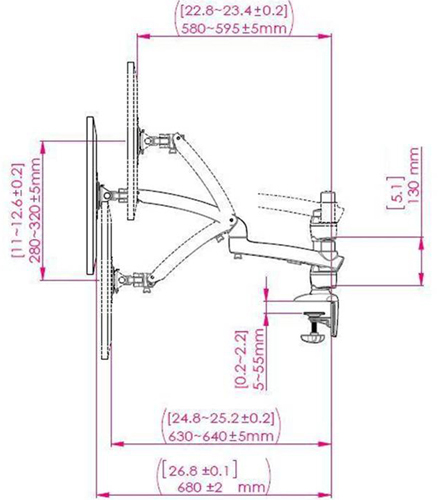 Technical Drawing for Ergotech FDM-PC-S02 Dual Freedom Arm