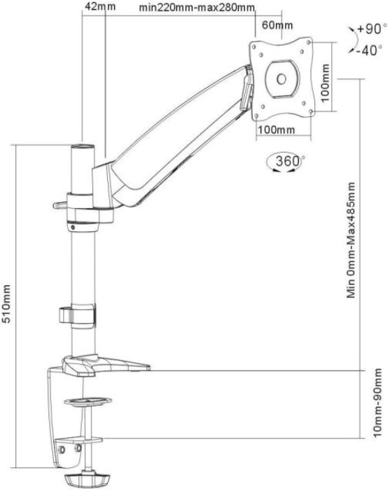 Technical Drawing for Ergotech 320-C14-C011 One-Touch Monitor Arm