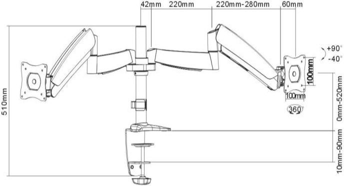 Technical Drawing for Ergotech 320-C14-C024 One-Touch Dual Monitor Arm