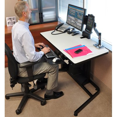 Ergotron 24 219 200 WorkFit D Sit Stand Desk With Desk Mount
