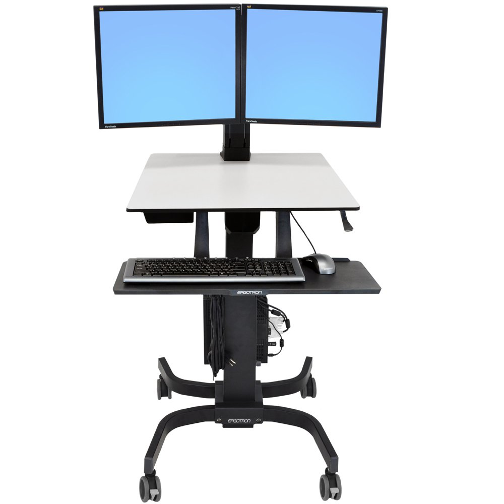 Sit Stand Cart Ergotron 24 214 085 Workfit C Dual Monitor