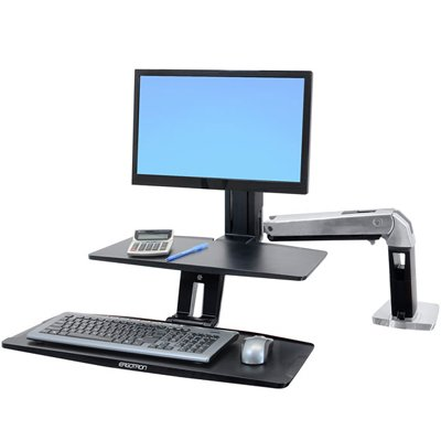 Ergotron 24-390-026 WorkFit-A with Suspended Keyboard, Single LD