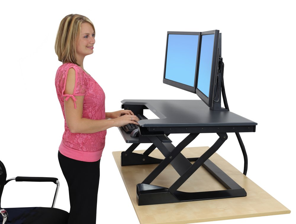 Inused Image Workfit T With Dual Monitor Kit Installed Highlights Converts Existing Desk Into Standing