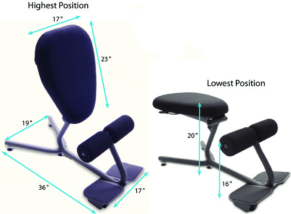Technical Drawing for HealthPostures 5000 Stance Move Angle Ergonomic Chair