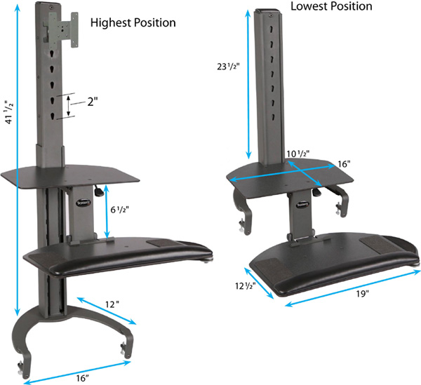 Technical drawing for HealthPostures 6300 Taskmate Go Sit Stand Desk