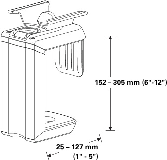 Technical drawing for Humanscale CPU200 Under Desk Mount CPU Holder