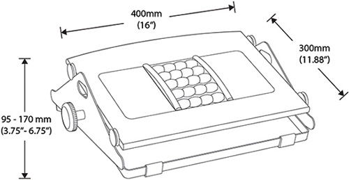 Technical drawing for Humanscale FM300 Ergonomic Foot Rest