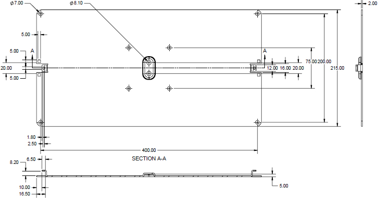 Technical Drawing for Humanscale VM28-24 VESA Plate 200mm x 400mm