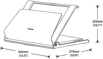 Technical drawing for Humanscale L6 Notebook Manager Laptop Holder