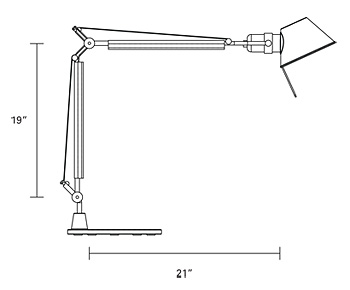 Drawing for Humanscale Tolomeo TTC Classic CFL Task Light