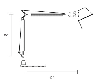 Drawing for Humanscale Tolomeo TTM Mini CFL Task Light