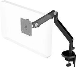 Humanscale M2 Arm with Two Piece Clamp Mount with Base, Fixed Angled Link/Dynamic Link and Black
