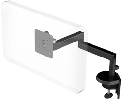 Humanscale M2 Arm with Two Piece Clamp Mount with Base, Fixed Straight Link/Fixed Straight Link and Black