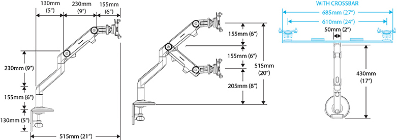 Drawing for Humanscale M8 Monitor Arm