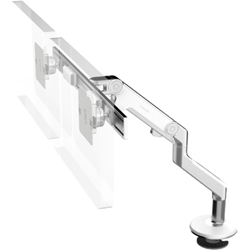 Humanscale M8 Dual Arm with Bolt Through Mount with Base, Fixed Angled Link/Dynamic Link and White