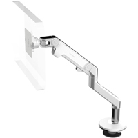 Humanscale M8 arm with Bolt Through Mount with Base, Fixed Angled Link/Dynamic Link and White
