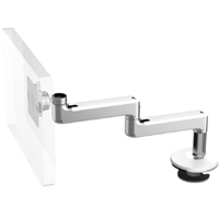 Humanscale M8 Arm with Bolt Through Mount with Base, Fixed Straight Link/Fixed Straight Link and White