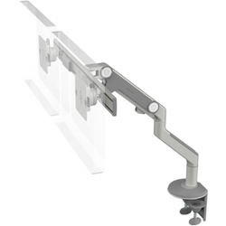Humanscale M8 Dual Arm with Two Piece Clamp Mount with Base, Fixed Angled Link/Dynamic Link and Silver