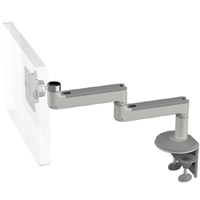 Humanscale M8 Arm with Two Piece Clamp Mount with Base, Fixed Straight Link/Fixed Straight Link and Silver