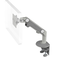 Humanscale M8 Arm with Two Piece Clamp Mount with Base, Dynamic Link only and Silver