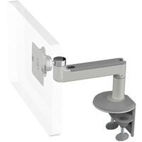 Humanscale M8 Arm with Two Piece Clamp Mount with Base, Straight Link only and Silver