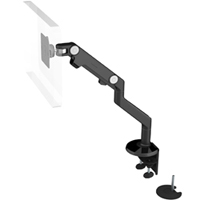 Humanscale M8 Arm with Dual Mount Clamp and Bolt Through, Fixed Angled Link/Dynamic Link and Black